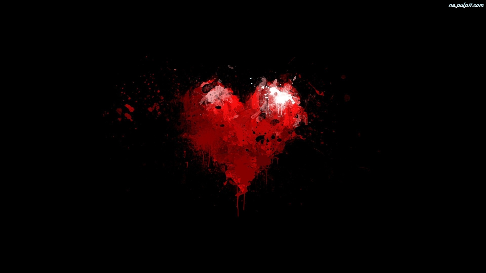 Abstract Wallpaper Black Hearts Blue 3d And Hd Wallpaper: Czerwone, Serce Na Pulpit